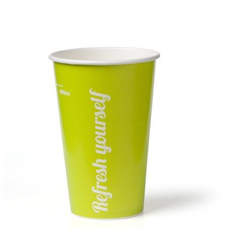 """Milkshake Bekers 400ml Lime Karton """"Refresh Yourself"""" Ø 90mm (Klein-verpakking) Horecavoordeel.com"""