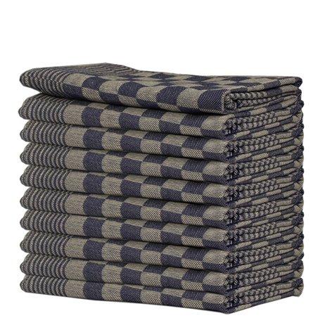 Theedoeken Geblokt Blauw 65x65cm Horecavoordeel.com
