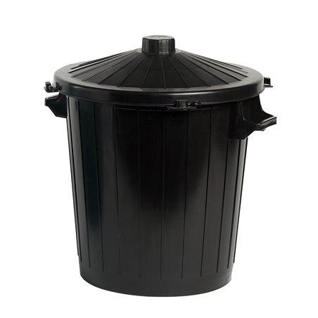 Afvalbak Rond Zwart 80 Liter Inclusief Deksel Horecavoordeel.com