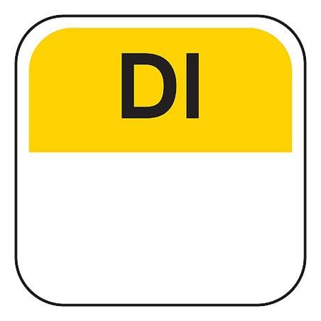 Dagstickers Dinsdag 25 x 25mm Geel Verwijderbaar Horecavoordeel.com