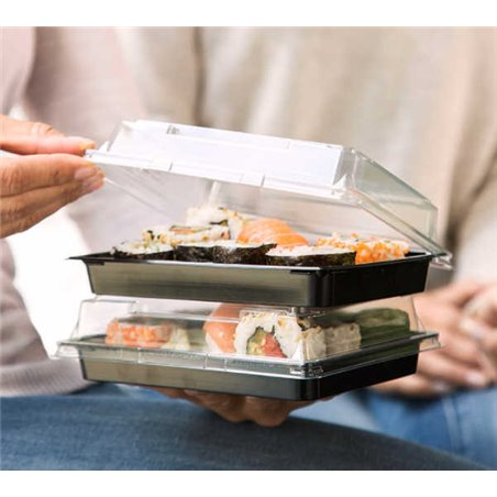 Sushi Schaaltjes Nr.18 PET Zwart + Antifog Deksels Pet Transparant 255 × 185 × 20mm (414)
